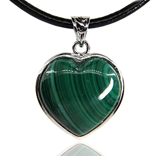 Amandastone Gemstone 20MM Natural Green Band Malachite Heart Charm Pendant Necklace - Heart Stone Natural Green Necklace