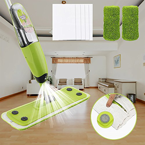 Microfiber Floor Spray Mop for Hardwood – Cleaning Tool with 2 Pads and 5 Dust Cloths and 360 Rotary Head for Home Office Kitchen