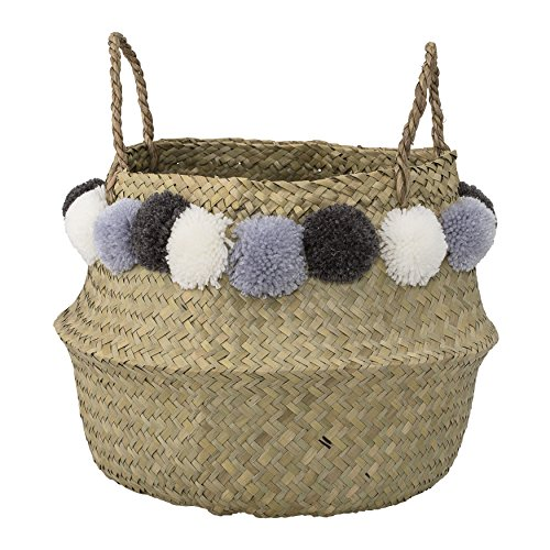 Bloomingville Seagrass Basket Poms, Natural, 15 Inch, Natural with Blue Pom Poms