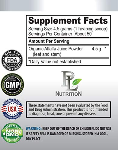 Organic antioxidant Supplement - Alfalfa Organic - Juice Powder - superfood Powder Energy - 3 Cans 24 OZ (150 Servings) by PL NUTRITION (Image #1)