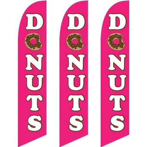 (Three (3) Pack Full Sleeve Swooper Flags DONUTS Pink White Brown w Donut Pic)