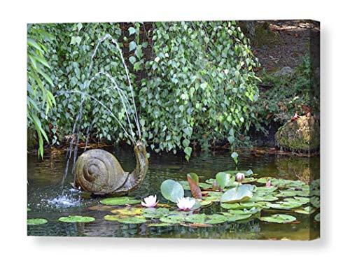 Botanical CANVAS Wall Art Garden Print Fountain Statue Sculpture Butchart Gardens Victoria BC Travel Photography Lily Pad Home Decor Snail Ready to Hang 8x10 8x12 11x14 12x18 16x20 16x24 20x30 24x36
