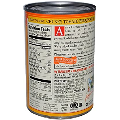 Light Sodium Tomato Bisque by Amy's Kitchen, 14.5 oz (3)