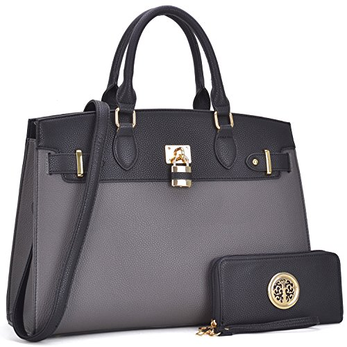 Multi Pockets Satchel for Women, Large Designer Lady Purses Laptop Tablet Tote Work Briefcase ()