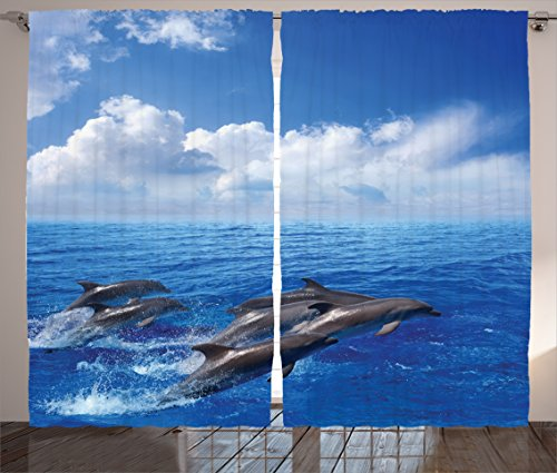 Ambesonne Sea Animals Decor Curtains by, Dolphins Jumping in Clear Sea and Fluffy Clouds in the Sky Marine Life Photograph, Living Room Bedroom Decor, 2 Panel Set, 108 W X 90 L Inches, Blue White