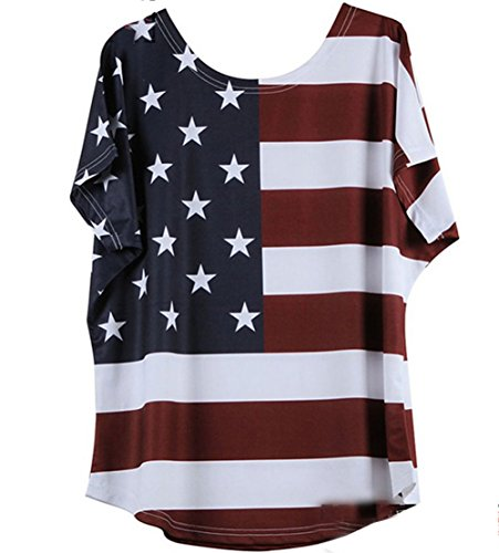 Cinyifaan Womens American Flag Short Sleeve Cotton T Shirt Loose (Flag Baby Doll T-shirt)