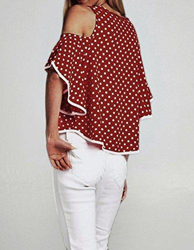 Maniche Rotondo Pois Collo T a Casual Campana Moda Spalla Cime Tops Bluse Shirt Maglietta Tumblr Sciolto Fredda Camicie Donne qE6CYW