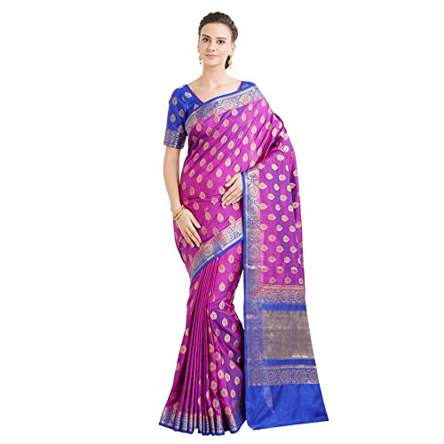 Designer Sarees Woven Work Banarasi Art Silk Saree for women With Unstitched Blouse Piece (Shaded Purple)