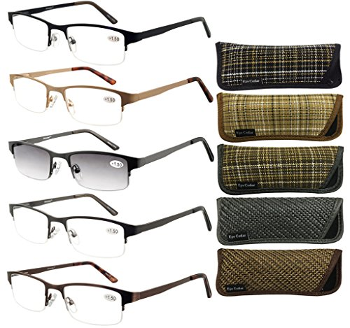 Eyecedar Metal Half-Frames Reading Glasses Men 5-Pack Spring Hinges Stainless Steel Material Frames Included 5-Cloth Pouch And Sun Readers Glasses 1.00