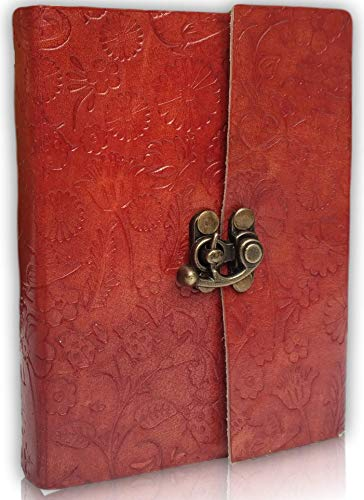 Leather journal to write in for women and men - Burnt Paper Edges Ltd. Edition - LEAFERS - Best Gift for Teens, Artists, Friends Anniversary 6x4.5 - Handmade Vintage Travel Diary Drawing Poetry Office