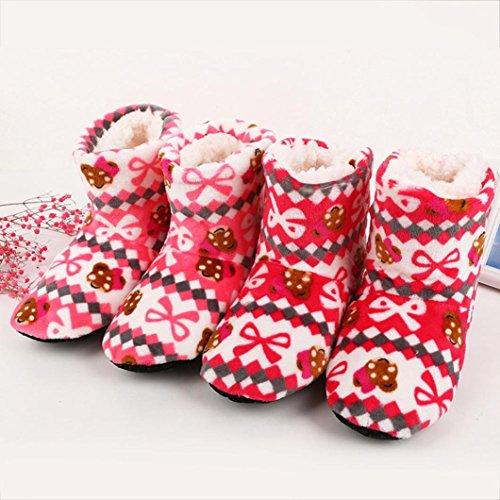 Transer Size 2-6 Women Ladies Cotton Warm Indoor Slippers Soft Plush Christmas Socks Pink FmLmktjhuc