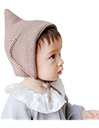 Witches Hat Knitted Girls Boys Lace-Up Solid Color Baby Bonnet Newborn