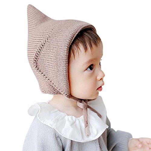 Etosell Witches Hat Knitted Girls Boys Lace-Up Solid Color Baby Bonnet Newborn -