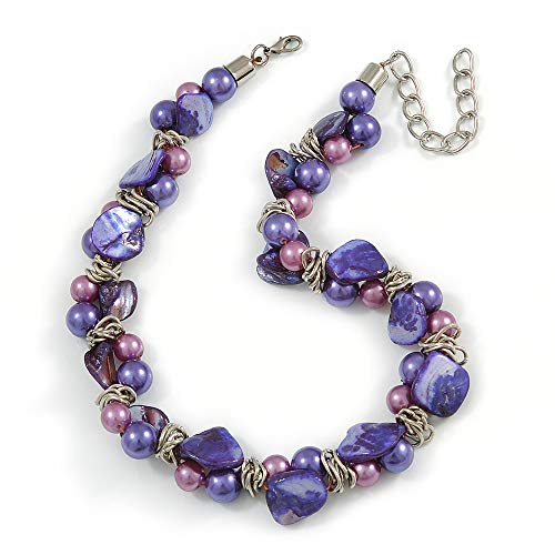 - Avalaya Exquisite Faux Pearl & Shell Composite Silver Tone Link Necklace in Purple - 44cm L/ 7cm Ext