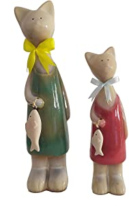 ABEESEA 2 pcs Ceramic Cat Figurines with Fish Home Decor Accessories Statue Animal Porcelain Ornaments Ceramic Crafts Art Figurines for Home Living Room Wine Cabinet Room Decoration