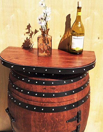 Rustic French Oak Half Wine Barrel Entryway Table with solid oak 28