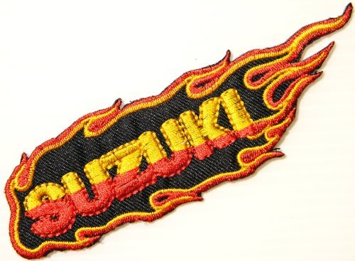 SUZUKI Flame Motorcycle Logo Sign Biker Racing Patch Iron on Applique Embroidered T shirt Costume BY SURAPAN