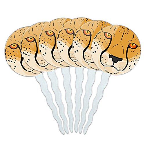 Set of 6 Cupcake Picks Toppers Decoration Animals Going On Safari - Cheetah Face Safari]()