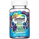 Centrum Kids Flavor Burst Multivitamin / Multimineral Supplement Chews, Vitamin A, Vitamin C and Vitamin D (Grape and Blue Raspberry Flavor, 120 Count)
