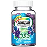 Centrum Kids Flavor Burst (120 Count, Grape and Blue Raspberry Flavor) Multivitamin / Multimineral Supplement Chews, Vitamin A, Vitamin C, Vitamin D