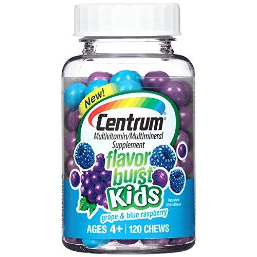 Centrum Flavor Burst Chews - Centrum Kids Flavor Burst (120 Count, Grape and Blue Raspberry Flavor) Multivitamin/Multimineral Supplement Chews, Vitamin A, Vitamin C, Vitamin D