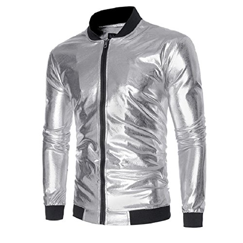 Stand Outdoor aicessess Shiny Coats Men Zip Collar Silver Splice Jackets Full Classic xIqzIU