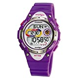 Pasnew LED Waterproof 100m Sports Digital Watch for Children Girls Boys (Purple)