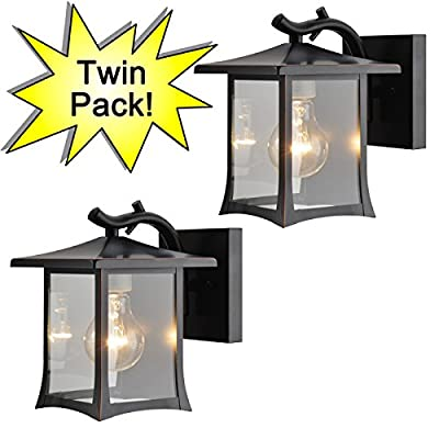Designers Impressions 73475 Oil Rubbed Bronze Mission Style Outdoor Patio / Porch Wall Mount Exterior Lighting Lantern Fixtures with Clear Glass - Twin Pack