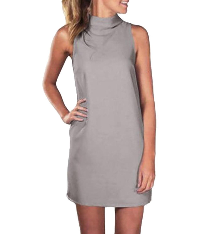 AIYUE Damen Turtle Neck Ärmellos Casual Poloshirt Minikleid Basic Tops T-Shirt Blusekleider