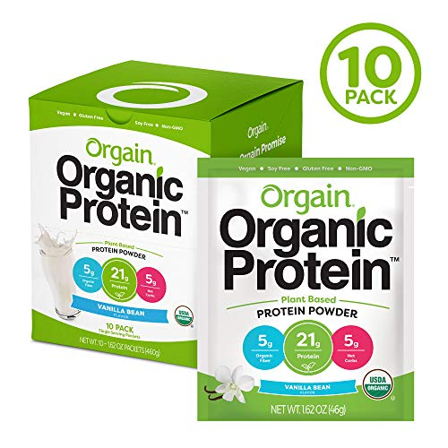 Orgain Organic Plant Based Protein Powder Travel Pack, Vanilla Bean – Vegan, Low Net Carbs, Non Dairy, Gluten Free, Lactose Free, No Sugar Added, Soy Free, Kosher, Non-GMO, 10 Count