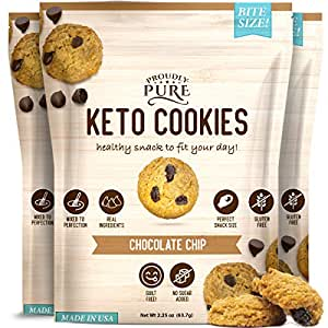 Proudly Pure Mini Bite Size On the Go 3 Pack Keto Cookie Chocolate Chip Snacks - Healthy Low Carb, Diet Friendly, Tasty and Delicious Gluten Free Food Treats Made With Real All Natural Ingredients