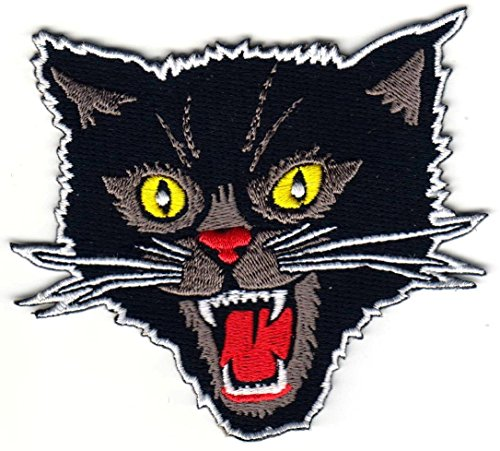HHO Black Screaming Cat Rockabilly Horror Tattoo Goth Punk Patches, Cute Applique Sew Iron on Kids Craft Patch for Bags Jackets Jeans ()