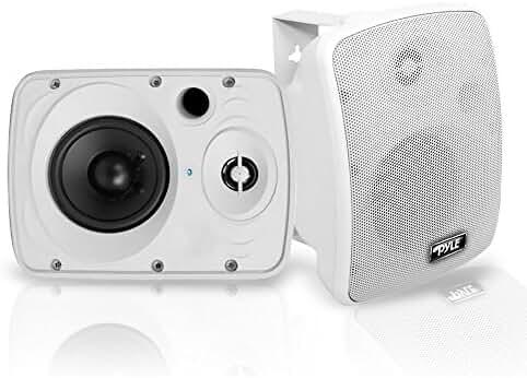 Pyle PDWR54BTW Waterproof and Bluetooth 5.25'' Indoor/Outdoor Speaker System, 600 Watt, White, Pair (White)