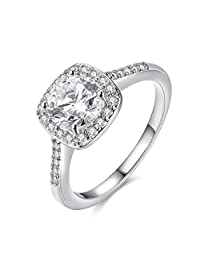 Garilina Engagement Ring Rings for Women White Topaz Ring Platinum Plated Jewelry Size 5 6 7 8 9 R2046