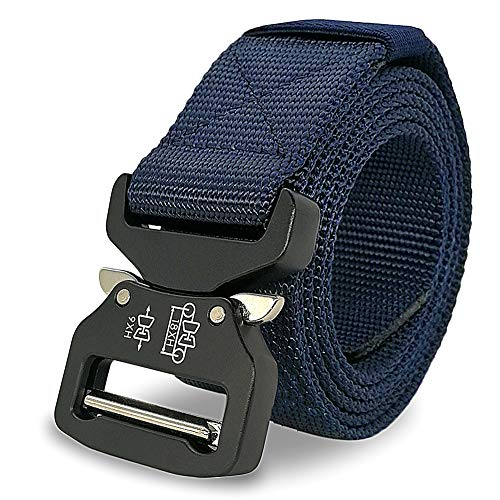 Facefuture Men's Tactical Belt Heavy Duty Webbing Belt Outdoor Adjustable Nylon Golf Waist Belts(YD0106Blue)