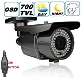 DTVASION® DF40NT7 700 TV lines 1/3 Color SONY CCD EFFIO-E Outdoor Bullet Security Camera 2.8~12mm Varifocal Lens, 42PCS Infrared LED, 115 feet IR Distance, Metal vandal proof & water proof IP66
