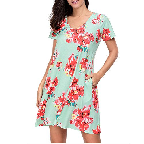 Idingding Women's Summer Fashion Floral Printed A-Line Casual Tunic T-Shirt Dress Mini Dress, 2216 Green Red, S ()
