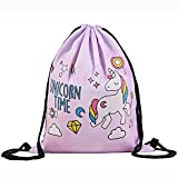 Jom Tokoy Drawstring Backpack Unicorn Sackpack for Girls Soft Polyester Gym Drawstring Bag Sport Bag (Unicorn-2) For Sale
