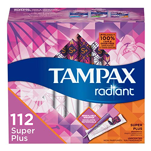 Tampax Radiant Plastic Tampons, Super Plus Absorbency, Unscented, 28 Count, Pack of 4 (Packaging May Vary) (Tampax Tampons Unscented Pearl)