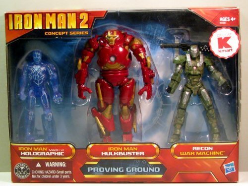 Iron Man 2 Movie Exclusive Concept Series 4 Inch Action Figure 3Pack Proving Ground Holographic Mark VI, Hulkbuster Armor Recon War Machine -