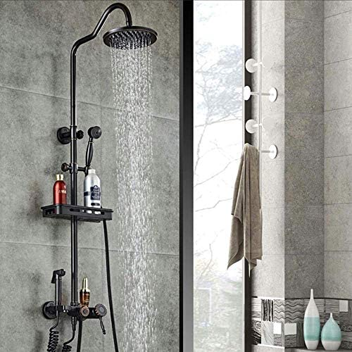 レトロなホーム銅黒ブロンズアンティークシャワーセットラックハンドシャワーシステム彫刻が施されたバスルーム加圧蛇口ラウンドトップスプレー4機能
