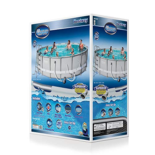 Bestway Power Steel 18ft x 51.6in Round Frame Above Ground Swimming Pool & Pump
