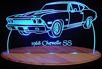 "1968 Chevelle SS Acrylic Lighted Edge Lit 13"" LED Sign / Light Up Plaque 68 VVD1"