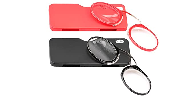 6b1e29f47450 Image Unavailable. Image not available for. Color  SOOLALA Women Men Go  Everywhere SOS Pince Nez Style Nose Resting Pinching Portable Wallet  Reading Glasses