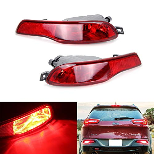 iJDMTOY Complete LED Rear Fog Light Kit For 2014-up Jeep Cherokee (KL), Includes High Power Red LED Bulbs, Red Lens Rear Foglamp Assy & Wiring Harness
