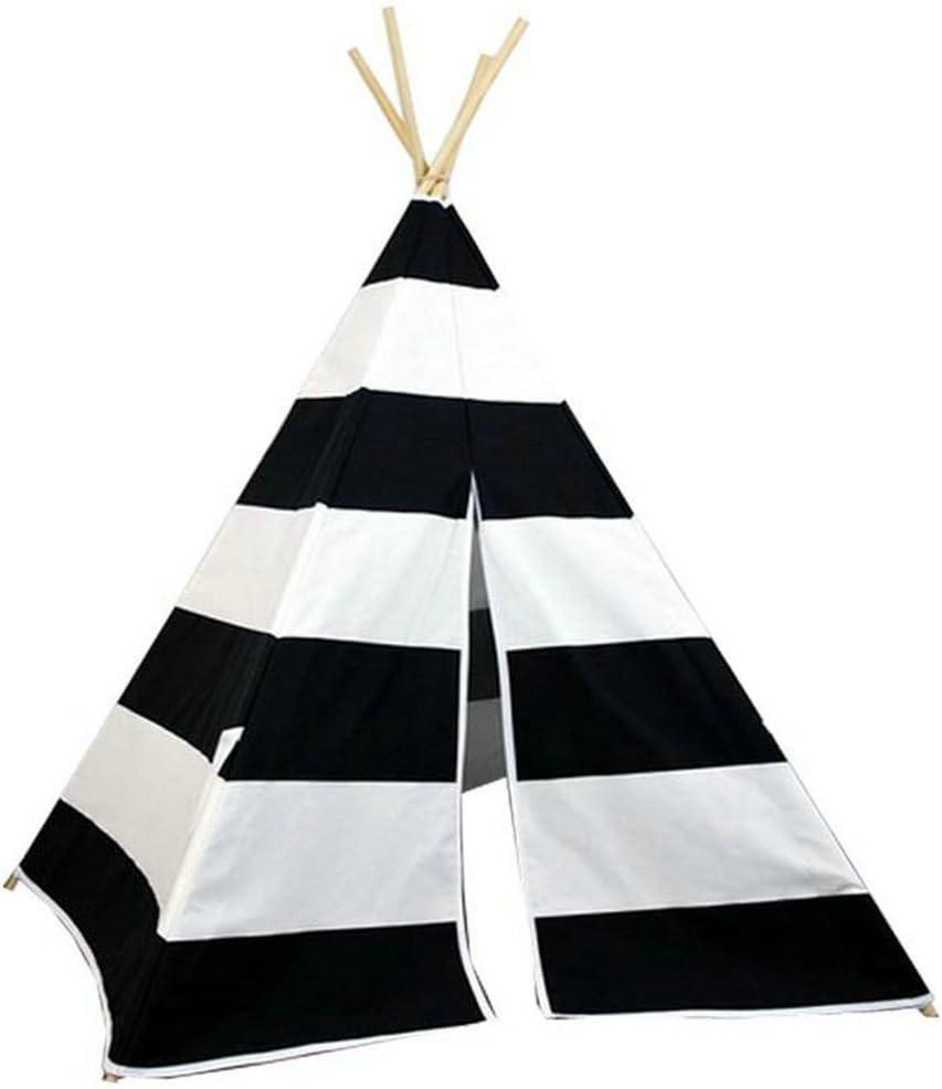 AniiKiss Giant Canvas Kids Teepee Play Tent Grey Stripes
