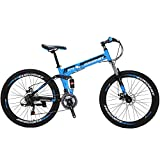 Eurobike 26' Full Suspension Mountain Bike 21 Speed Folding Bicycle Men or Women MTB (Blue)