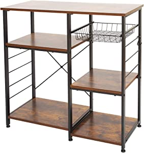 AZ L1 Life Concept Industrial Kitchen Rack, Coffee Bar, Microwave Stand Metal Frame, Wire Basket 6 Hooks Mini Oven, Spices Utensils, Simple Assembly, 35.4inch, Rustic Brown