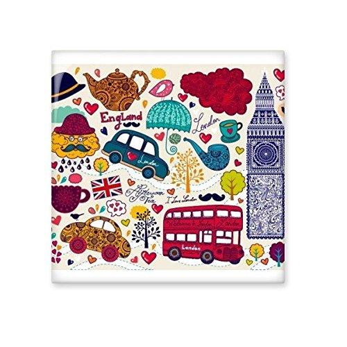 30%OFF Bus Tower UK England Big Ben Landmark Flag Mark Illustration Pattern Ceramic Bisque Tiles for Decorating Bathroom Decor Kitchen Ceramic Tiles Wall Tiles