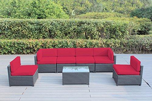 Ohana Mezzo 7-Piece Outdoor Wicker Patio Furniture Sectio...